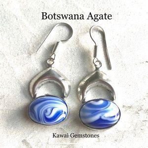 Jewelry - ✨Blue Botswana Agate Silver Plated Earrings✨